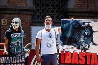 Activists protest against bullfighting and at the same time celebrates Animal Day, outside La Macarena bullring in Medellin, Colombia, 10.05.2014. VIEWpress/Juan Gabriel Lopera