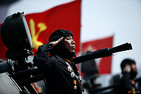 A soldier salutes atop armoured vehicle as it drives past the stand with North Korean leader Kim Jong Un during a military parade marking the 105th birth anniversary of country's founding father, Kim Il Sung in Pyongyang, April 15, 2017.    REUTERS/Damir Sagolj