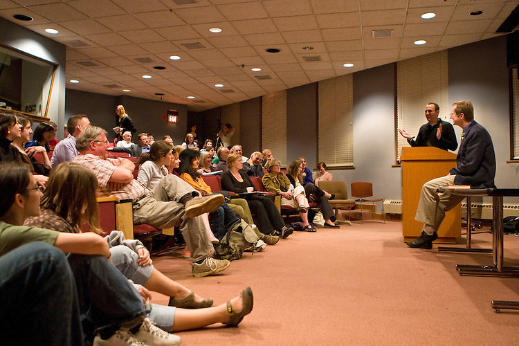 "Jeff Goodell, (second from right) investigative journalist and author of ""Big Coal,"" gives a lecture on the perils of coal as an energy source on Wednesday, April 16, 2008 in Ohio University's Scripps Auditorium. Photo by Diego James Robles"