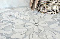 Rumi medallion, a stone waterjet mosaic shown in Avenza polished, Skyline honed, Snow White polished, is part of the Talya Collection by Sara Baldwin for Marble Systems.