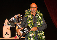 Kelly Slater (USA) with a record eight World Titles proudly displays his world title trophy at Annual Foster's ASP World Champion's Crowning at Conrad Jupiters Casino on the Gold Coast of Australia Saturday night, February 24 2007. Held just prior to the launch of the 2007 Foster's ASP and ASP Women's World Tours at Snapper Rocks, the World Champion's Crowning acknowledged a bevy of accomplishments by surfers of all disciplines.  Photo: Joli