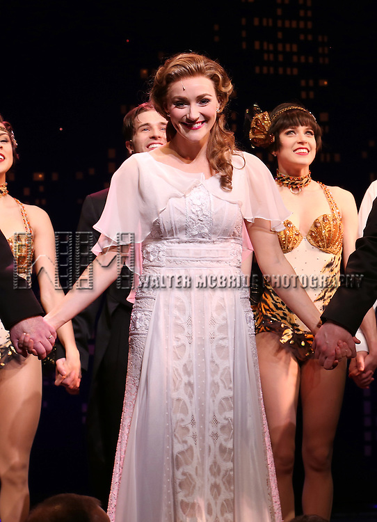 """Betsy Wolfe during the Broadway Opening Night Performance Curtain Call for ''Bullets Over Broadway'""""at the St. James Theatre on April 10, 2014 in New York City."""