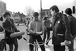 "Peter Tatchell electioneering south London 1983. UK. ""Justice for Pensioners"" badge.Bermondsey by-election"