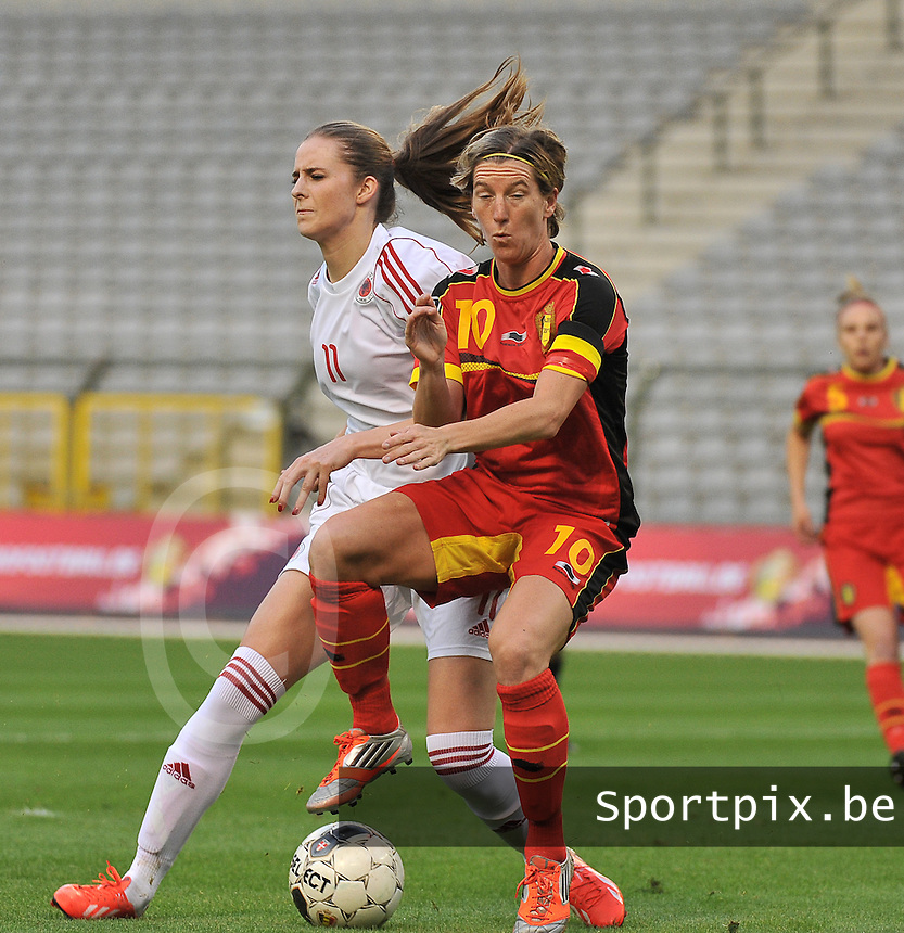 20130921 - BRUSSELS , BELGIUM : Belgian Aline Zeler (10) pictured with Albanian Curo Ellvana (11) during the female soccer match between Belgium and Albania , on the first matchday in group 5 of the UEFA qualifying round to the FIFA Women World Cup in Canada 2015 at the Koning Boudewijn Stadion , Brussels . Saturday 21th September 2013. PHOTO DAVID CATRY