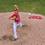 6 September 2014: Washington Nationals pitcher Jerry Blevins on the mound against the Philadelphia Phillies at Nationals Park in Washington, DC. The Nationals fell to the Phillies 3-1 in the second game of their 3-game series. Mandatory Credit: Ed Wolfstein Photo *** RAW (NEF) Image File Available ***