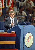 "New York, NY - (FILE) -- United States Senator Edward M. ""Ted"" Kennedy (Democrat of Massachusetts) delivers the keynote speech at the 1980 Democratic National Convention in New York, New York on Tuesday, August 12, 1980.  Kennedy challenged incumbent President Jimmy Carter for his party's 1980 nomination.  Kennedy ended his speech with the words ""For me, a few hours ago, this campaign came to an end. For all those whose cares have been our concern, the work goes on, the cause endures, the hope still lives, and the dream shall never die."".Credit: Arnie Sachs / CNP"
