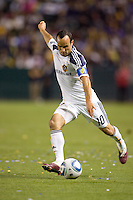 LA Galaxy forward Landon Donovan (10) sends a ball over the middle. The LA Galaxy defeated Real Salt Lake 2-1 at Home Depot Center stadium in Carson, California on Saturday April 17, 2010.  .