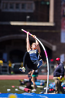 Amanda Benninghoff of Council Rock South bends her pole to clear the bar in the High School Girls Pole Vault Championship of America. Benninghoff place third with a vault of 3.70m.