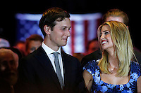 NEW YORK, NY MAY 03: Ivanka Trump and her husband, Jared Kushner reacts while Donald Trump  delivers his speech after his victory in the Indiana primary at the Trump Tower in Manhattan on May 03, 2016 in New York City.  Senator Ted Cruz suspended his presidential campaign hours after Trump was declared the winner(Photo by VIEWpress)