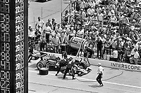 INDIANAPOLIS, IN - MAY 28: Danny Ongais makes a pit stop in his Parnelli VPJ6B/VPJ Cosworth during the Indy 500 at the Indianapolis Motor Speedway in Indianapolis, Indiana, on May 28, 1978.