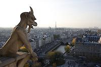 Stryge Chimera overlooking the city, Notre Dame de Paris, 1163 ? 1345, initiated by the bishop Maurice de Sully, Ile de la Cité, Paris, France. Picture by Manuel Cohen