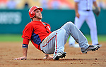 6 March 2012: Washington Nationals outfielder Bryce Harper trips himself up on the basepath during a Spring Training game against the Atlanta Braves at Champion Park in Disney's Wide World of Sports Complex, Orlando, Florida. The Nationals defeated the Braves 5-2 in Grapefruit League action. Mandatory Credit: Ed Wolfstein Photo