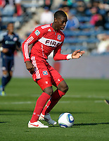 Chicago defender Jalil Anibaba (6) passes the ball.  The Chicago Fire defeated the New England Revolution 3-2 at Toyota Park in Bridgeview, IL on Sept. 25, 2011.