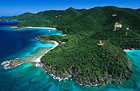 Aerial view of Peace Hill on towards the north shore of St. John with Denis Bay, Jumby Bay and Trunk Bay<br /> U.S. Virgin Islands