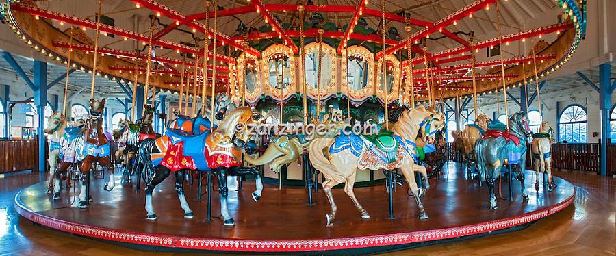 Santa Monica CA, Santa Monica Pier, Carousel, Merry Go-Round (Carousel) Horses, Pacific Park, Rides, Amusements, Panorama