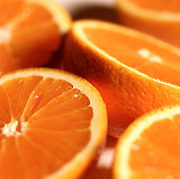 Close up of sliced oranges.