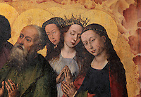 Apostles and saints (Paul in green) in worship before Christ as Supreme Judge on Judgement Day, from the open panels of the polyptych altarpiece, 1446-52, by Rogier van der Weyden, 1399-1464, commissioned by Nicolas Rolin in 1443, in Les Hospices de Beaune, or Hotel-Dieu de Beaune, a charitable almshouse and hospital for the poor, built 1443-57 by Flemish architect Jacques Wiscrer, and founded by Nicolas Rolin, chancellor of Burgundy, and his wife Guigone de Salins, in Beaune, Cote d'Or, Burgundy, France. The altarpiece was originally in the Chapel, but is now in the museum. The panels were only opened to patients during holy days. The hospital was run by the nuns of the order of Les Soeurs Hospitalieres de Beaune, and remained a hospital until the 1970s. The building now houses the Musee de l'Histoire de la Medecine, or Museum of the History of Medicine, and is listed as a historic monument. Picture by Manuel Cohen
