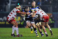 Henry Thomas of Bath Rugby takes on the Gloucester defence. Aviva Premiership match, between Bath Rugby and Gloucester Rugby on February 5, 2016 at the Recreation Ground in Bath, England. Photo by: Patrick Khachfe / Onside Images