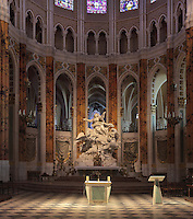 The Assumption of the Virgin, 1767-73, by Charles-Antoine Bridan, in the choir, Chartres Cathedral, Eure-et-Loir, France. This monumental Baroque sculpture measure 6m by 4m and weighs 30 tonnes. Chartres cathedral was built 1194-1250 and is a fine example of Gothic architecture. It was declared a UNESCO World Heritage Site in 1979. Picture by Manuel Cohen