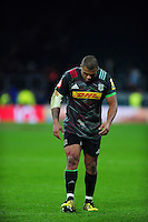 Kyle Sinckler of Harlequins leaves the field with an injury to his leg. Aviva Premiership match, between Harlequins and Gloucester Rugby on December 27, 2016 at Twickenham Stadium in London, England. Photo by: Patrick Khachfe / JMP