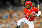28 August 2010: Washington Nationals outfielder Roger Bernadina at bat against the St. Louis Cardinals at Nationals Park in Washington, DC. The Nationals defeated the Cards 14-5 to take the third game of their 4-game series. Mandatory Credit: Ed Wolfstein Photo