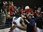 Mississippi's Terrance Henry (1) cheers towards the student section following the game against Mississippi State at the C.M. &quot;Tad&quot; Smith Coliseum in Oxford, Miss. on Wednesday, January 18, 2012. Mississippi won 75-68. (AP Photo/Oxford Eagle, Bruce Newman).