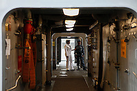 New York, USA. 22nd May, 2014. Navy members are seen at pier 92 in Manhattan during the Fleet Week in New York.  Kena Betancur/VIEWpress