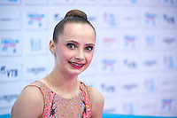 """September 10, 2015 - Stuttgart, Germany - CAMILLA FEELEY of USA smiles from """"kiss & cry"""" after AA qualifications at 2015 World Championships."""