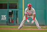 22 May 2015: Philadelphia Phillies infielder Maikel Franco takes a lead off first during play against the Washington Nationals at Nationals Park in Washington, DC. The Nationals defeated the Phillies 2-1 in the first game of their 3-game weekend series. Mandatory Credit: Ed Wolfstein Photo *** RAW (NEF) Image File Available ***