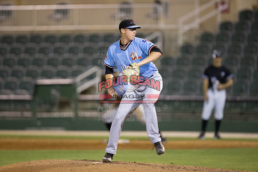Hickory Crawdads relief pitcher Matt Ball (19) in action against the Kannapolis Intimidators at Kannapolis Intimidators Stadium on May 18, 2017 in Kannapolis, North Carolina.  The Crawdads defeated the Intimidators 6-4.  (Brian Westerholt/Four Seam Images)