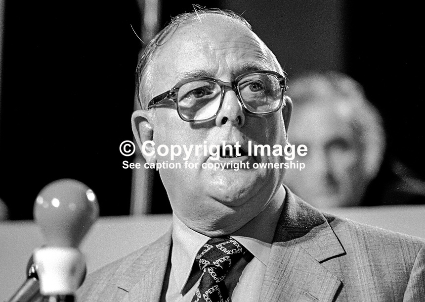 Denis Howell, MP, Labour Party, UK, speaking at his party's annual conference, October, 1980.  198010000405DH1..Copyright Image from Victor Patterson, 54 Dorchester Park, Belfast, United Kingdom, UK...For my Terms and Conditions of Use go to http://www.victorpatterson.com/Victor_Patterson/Terms_%26_Conditions.html