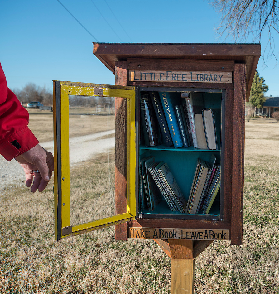NWA Democrat-Gazette/ANTHONY REYES &bull; @NWATONYR<br /> Lon Netherton Thursday, Feb. 11, 2016 outside his home in Springdale. Netherton built a Little Free Library. He and his wife keep several books for children and adults for anyone to borrow. Their home, off Elm Springs Road, can be busy, so they encourage anyone interested to park in their driveway or grass to safely look at books.