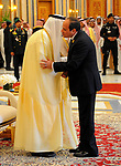 Egyptian President Abdel Fattah al-Sisi shakes hands with Saudi Arabia's King Salman bin Abdulaziz al-Saud, during the Arab American Islamic summit in the Saudi capital Riyadh on May 21. 2017. Photo by Egyptian President Office