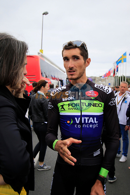 Brice Feillu (FRA) Fortuneo-Vital Concept at sign on before the start of Stage 3 of the 2016 Tour de France, running 223.5km from Granville to Angers, France . 4th July 2016.<br /> Picture: Eoin Clarke | Newsfile<br /> <br /> <br /> All photos usage must carry mandatory copyright credit (&copy; Newsfile | Eoin Clarke)