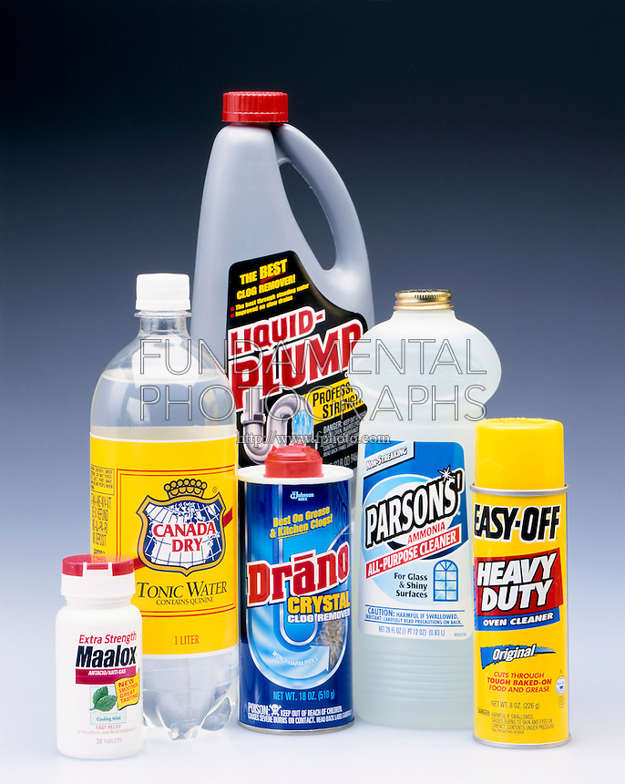 BASES IN COMMON HOUSEHOLD PRODUCTS<br /> Soaps and Cleaners<br /> Substances that accept H+ ions &amp; are considered proton acceptors.  Bases are bitter tasting &amp; slippery feeling, properties commonly found in soap &amp; household cleaners. Maalox, Tonic Water, Liquid Plumber, Drano, Ammonia &amp; Oven Cleaner.