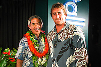 North Shore, Oahu, Hawaii (Wednesday, December 11, 2013,) Thompson and big wave surfer Ben Wilkinson (AUS). <br /> Nainoa Thompson &ndash; native Hawaiian navigator of Hawai&lsquo;i&rsquo;s traditional double-hull sailing canoe Hokule&lsquo;a, and President of the Polynesian Voyaging Society &ndash; is a living conduit of Hawaiian culture and traditional wayfinding skills. He spoke for over an hour before being joined on the stage by members of the crew for the three year around the world voyage. They were interviewed by host Jodi Wilmott (AUS) . Photo: joliphotos.com