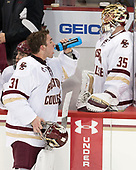 Joe Woll (BC - 31), Ryan Edquist (BC - 35) - The Boston College Eagles defeated the visiting Providence College Friars 3-1 on Friday, October 28, 2016, at Kelley Rink in Conte Forum in Chestnut Hill, Massachusetts.The Boston College Eagles defeated the visiting Providence College Friars 3-1 on Friday, October 28, 2016, at Kelley Rink in Conte Forum in Chestnut Hill, Massachusetts.