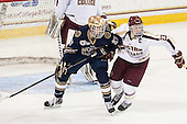 Austin Wuthrich (ND - 27), Patrick Brown (BC - 23) - The visiting University of Notre Dame Fighting Irish defeated the Boston College Eagles 7-2 on Friday, March 14, 2014, in the first game of their Hockey East quarterfinals matchup at Kelley Rink in Conte Forum in Chestnut Hill, Massachusetts.