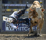 Tyler Willis, from Wheatland, WY., is bucked off by Mud Bath during the Xtreme Bull Riding Competition at the Kitsap County Fair and Stampede  held Aug. 26 to Aug. 30, 2009 in Silverdale, WA. Jim Bryant Photo. All Right Reserved. © 2009