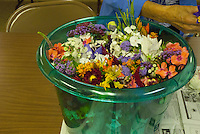 Bucket of flower bouquets  from Yarmouth Community Garden and Meals on Wheels customers, Yarmouth Maine