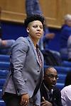 15 November 2016: Longwood assistant coach Wanisha Smith. The Duke University Blue Devils hosted the Longwood University Lancers at Cameron Indoor Stadium in Durham, North Carolina in a 2016-17 NCAA Division I Women's Basketball game. Duke won the game 105-48.
