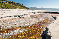 Brown stream running into sea at Bruce Bay, South Westland, West Coast, New Zealand