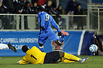 12 December 2014: Providence's Keasel Broome (1) knocks the ball away from UCLA's Abu Danladi (GHA) (9). The University of California Los Angeles Bruins played the Providence College Friars at WakeMed Stadium in Cary, North Carolina in a 2014 NCAA Division I Men's College Cup semifinal match.