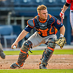 28 February 2017: Houston Astros catcher Max Stassi in action during the Spring Training inaugural game against the Washington Nationals at the Ballpark of the Palm Beaches in West Palm Beach, Florida. The Nationals defeated the Astros 4-3 in Grapefruit League play. Mandatory Credit: Ed Wolfstein Photo *** RAW (NEF) Image File Available ***