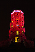 Enger Tower was lit in red and blue for the Independence Day celebrations.<br />