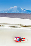 5 December 2014: Ondrej Hyman, sliding for the Czech Republic, slides through Curve Number 14 on his first run, ending the day with a 22nd place finish and a combined 2-run time of 1:44.535 in the Men's Competition at the Viessmann Luge World Cup, at the Olympic Sports Track in Lake Placid, New York, USA. Mandatory Credit: Ed Wolfstein Photo *** RAW (NEF) Image File Available ***