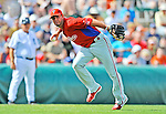9 March 2012: Philadelphia Phillies infielder Kevin Frandsen in action during a Spring Training game against the Detroit Tigers at Joker Marchant Stadium in Lakeland, Florida. The Phillies defeated the Tigers 7-5 in Grapefruit League action. Mandatory Credit: Ed Wolfstein Photo