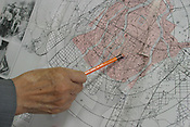Sunao Tsuboi shows on a map where he was when the atomic bomb excploded over the city of Hiroshima. Hiroshima, Japan, 21.07.2005