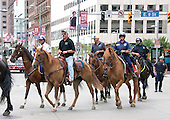 Police and security people on horseback on Euclid Street near the Quicken Loans Arena, site of the 2016 Republican National Convention, on Saturday, July 16, 2016.<br /> Credit: Ron Sachs / CNP<br /> (RESTRICTION: NO New York or New Jersey Newspapers or newspapers within a 75 mile radius of New York City)