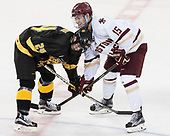Kade Kehoe (CC - 24), JD Dudek (BC - 15) - The Boston College Eagles defeated the visiting Colorado College Tigers 4-1 on Friday, October 21, 2016, at Kelley Rink in Conte Forum in Chestnut Hill, Massachusetts.The Boston College Eagles defeated the visiting Colorado College Tiger 4-1 on Friday, October 21, 2016, at Kelley Rink in Conte Forum in Chestnut Hill, Massachusett.